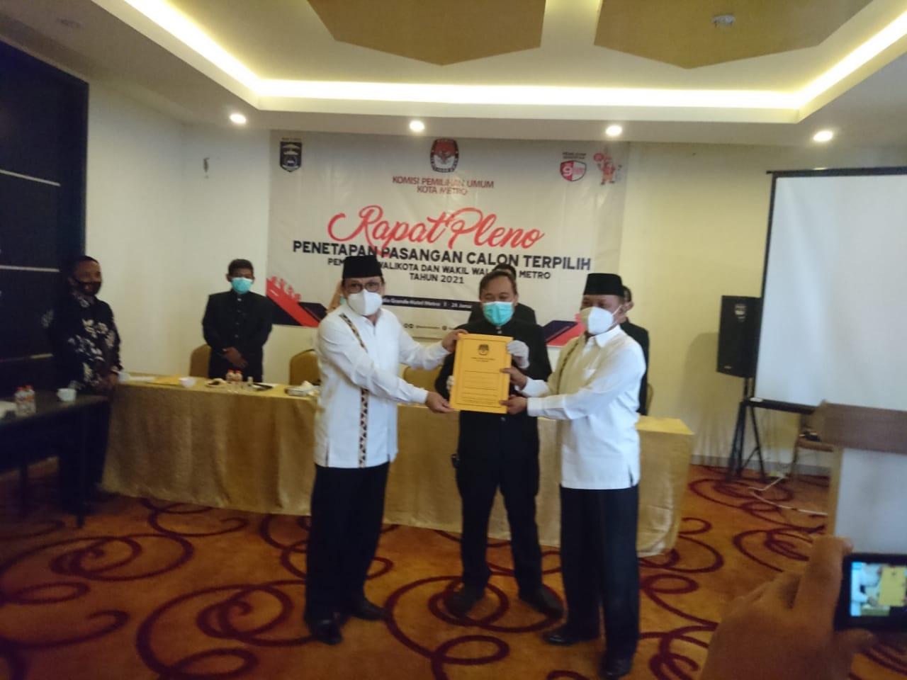KPU Metro Tetapkan WaRu Walikota Terpilih