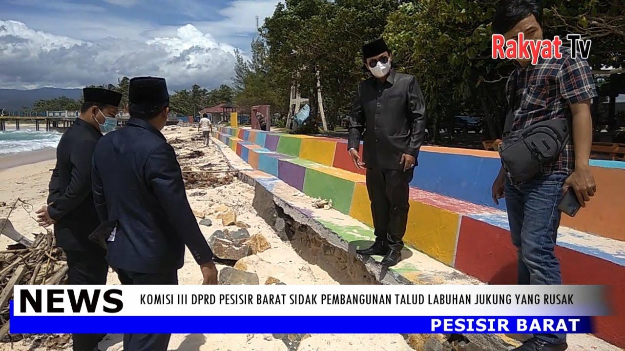Komisi III DPRD Pesibar Sidak Pembangunan Talud Labuhan Jukung Yang Rusak