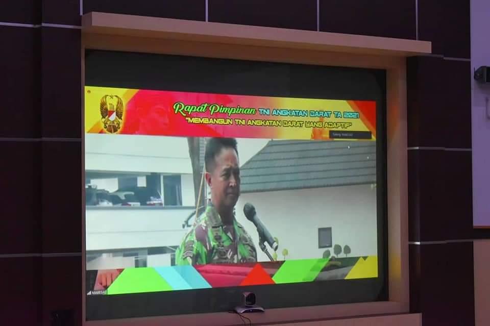 Danrem 043/Gatam Ikuti Rapim TNI AD TA 2021